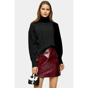 NWT TOPSHOP Knitted Turtleneck Color Block Sweater